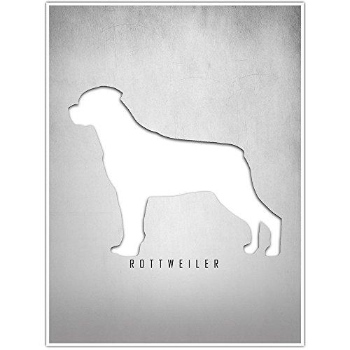 Rottweiler Silhouette Wall Art Decor Poster