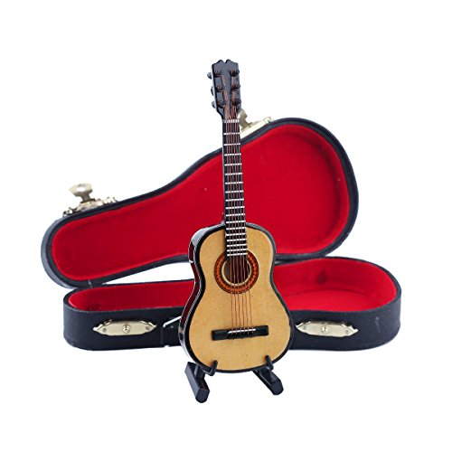 Seawoo Wooden Miniature Guitar with Stand and Case Mini Musical Instrument Miniature Dollhouse Model Home decoration (5.12