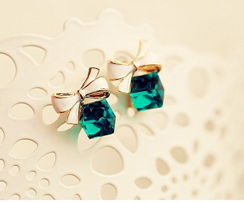Bright Austrian Crystals - 2018 New Fashion Austrian Crystal Delicate Blue Green Water Cubic Beautiful Box Bow Earrings (Green)