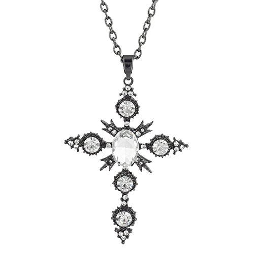 Lux Accessories Hem Black Crystal Circle Rhinestones Cross Chain Necklace