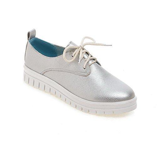 Allhqfashion Donna Materiale Morbido Allacciatura Tacco Basso Tacco Basso Pompe-scarpe Solide Argento
