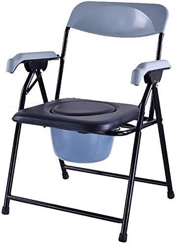 Cqq Badestuhl Bettsoilette/Badstuhl/Toilettenstuhl/Toilettenstuhl Steel Pipe Leicht faltbar Geeignet für Senioren, Behinderte, Schwangere