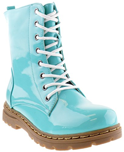 Gwen 01 Hi Womens Patent Milatary Lace Up Combat Boots Sea Green 8.5