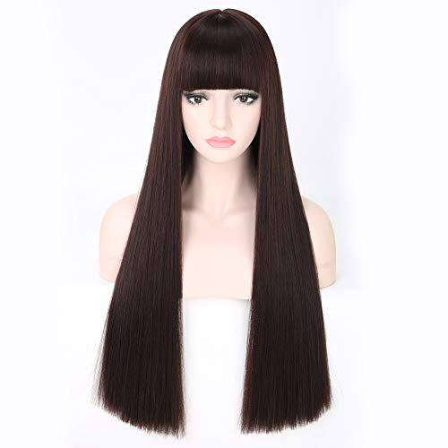 COSYCODE Synthetic Wigs with Flat Bangs Mixed Brown Straight Women Wig Long 28 inches Full Head Wigs Heat Resistant -