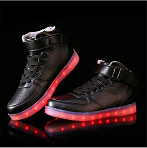 (Presente:pequeña toalla)JUNGLEST® LED Light 7 color Shoes zapatillas para hombre USB carga de techo luces intermitentes de calzado de deportes zapati c21
