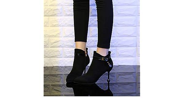 Shukun Botines Botas de tacón pequeñas para Mujer, Primavera y otoño, tacón de Aguja, Zapatos de Martin, Botas Delgadas Femeninas, Gato Salvaje con Botas ...