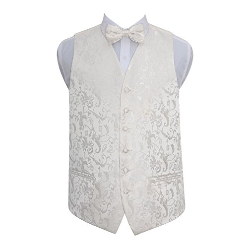 Men Wedding Tuxedo Floral Ivory Bow and Waistcoat DQT Tie 6qdAH4A