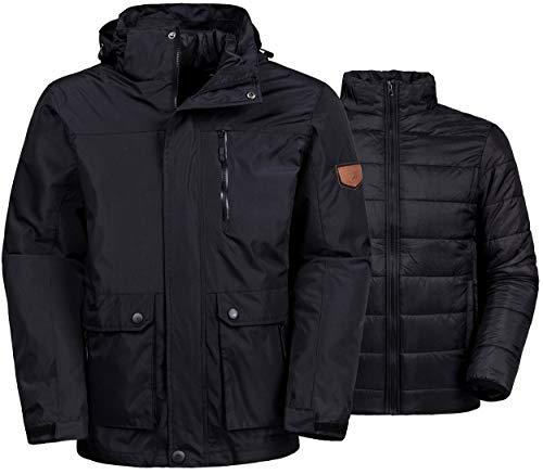 Wantdo Men's 3-in-1 Ski Jacket Warm Winter Coat Removable Puffer Liner Black XL