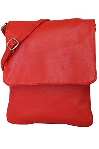 Claro de pequeño mujer piel nbsp;para piel nbsp;bandolera NL602 napa Bolso AMBRA de hombro – bolso de italiano Rojo de Moda HqpRvqw