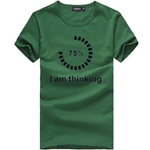 ANJUNIE Unisex Short Sleeve Tees Printing Casual T Shirt Loose Blouse (1-Green,S)