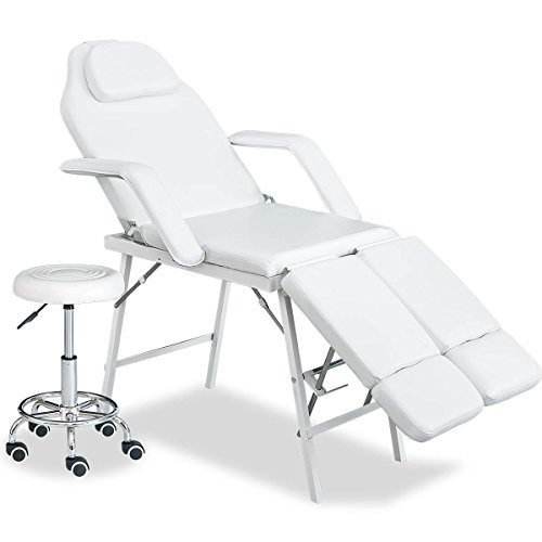 Merax Professional Multi-function Adjustable Salon Chair Massage Table Facial Bed with Adjustable Stool (White-2 Adjustable Legs)