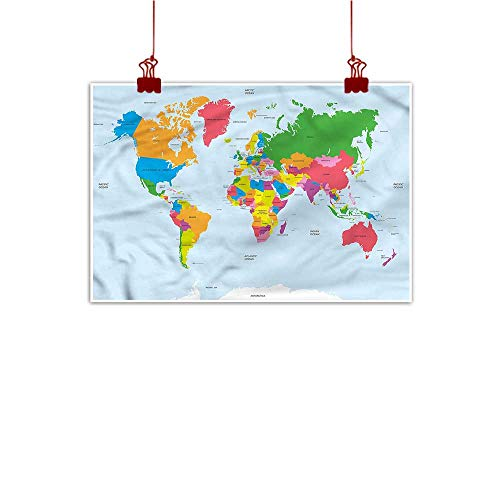 (Anyangeight Wall Painting Prints Map,Colorful Political World 20