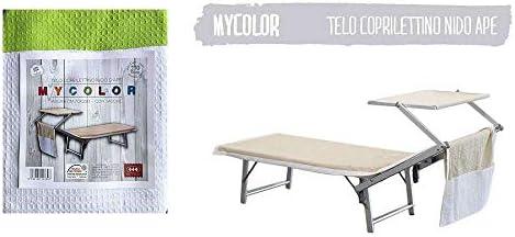 Lime Seamar Telo Mare per Lettino in Nido dApe Bicolore 70X230 CM con Tasche Posteriori