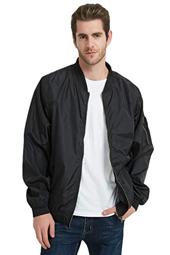 MADHERO Men's Lightweight Bomber Jacket Slim Fit Softshell Windbreaker (Black,XL/48) (Male Varsity Jacket)