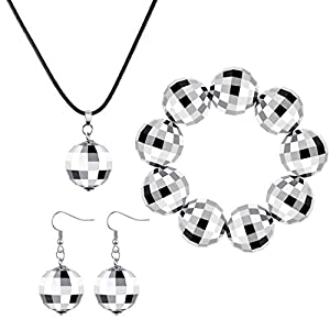 70s Disco Ball Accessories Set, Mirror Disco Ball Necklace Earrings and Bracelet, Silver