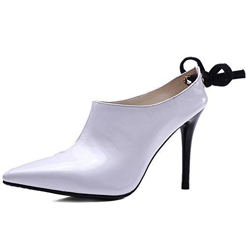 Nine Seven Cuero Puntiaguda Zapatos de Cordones de Tacón Alto de Vestir para Mujer blanco