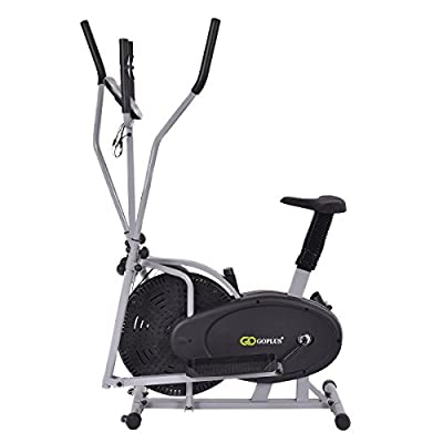 CHOOSEandBUY 2 in 1 Elliptical Dual Cross Trainer Machine Fan Bike Machine Exercise Workout Home Gym