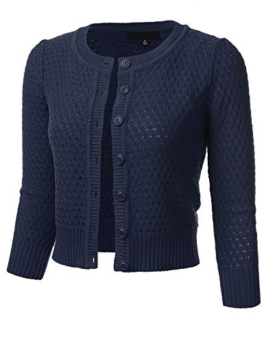 FLORIA Women's Button Down 3/4 Sleeve Crew Neck Cotton Knit Cropped Cardigan Sweater Navy L ()