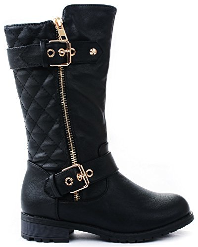 JJF Shoes Kids Girls Mango21 Black Dual Buckle/Zipper Quilted Mid Calf Motorcycle Boots-1