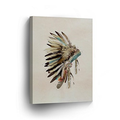 SmileArtDesign INDIAN WALL ART Native American Chiefs Feathered Headdress Canvas Print Home Decor Decorative Artwork Gallery Wrapped Wood Stretched and Ready to Hang -%100 Handmade in the USA - 12x8 (American Headdress Make Native)
