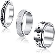 Adramata 3Pcs Stainless Steel Fidget Band Ring for Women Moon Star Sand Blast Finish Spinner Ring Set for Stre