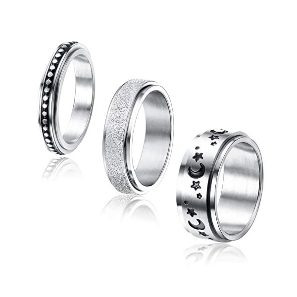 Jstyle 3Pcs Stainless Steel Fidget Band Ring for Women Moon Star Sand Blast Finish Spinner Ring Set for Stress Relieving Wedding Promise (Size 5-9)