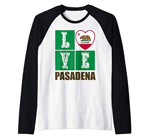 California Republic State Flag Heart Cali Love Pasadena Raglan Baseball Tee
