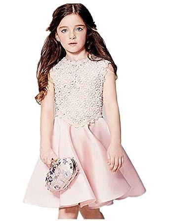 bf7f6e6a0e7eb mqa d'été filles fleur mariage en maille robe en dentelle Princesse enfants  gilet Jupe