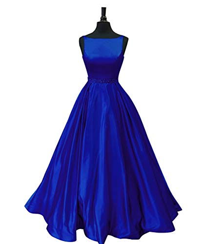 Staypretty Prom Dresses Long Satin Beaded A-line Formal Dress for Women with Pockets 2019 Royal Blue Size 22