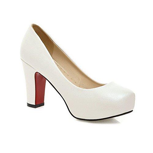 AgooLar Damen Ziehen auf Low-Heels PU Rein Rund Zehe Pumps Schuhe