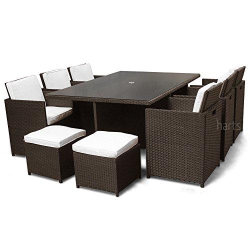 Set Da Pranzo In Rattan.Roe Gardens Premium Rattan Large Dining Set Cube 10 Seats