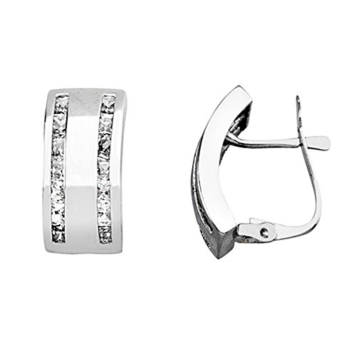 Boucled'oreille 18k or blanc zircone cubique 2mm. [AA5813]