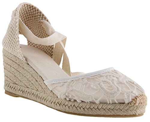 Wooden Wedge Wrap - U-lite Women's Summer Leather Innersole Wedges Shoes, Ankle-Wrap Pompom Sandals White Lace8.5
