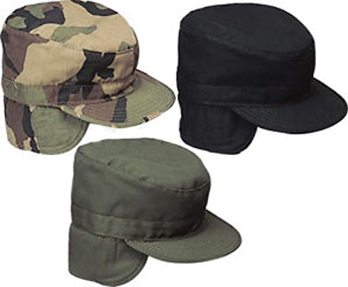 hersrfv clothing 1pc Camo Olive Drab Black Military Patrol Fatigue Cap Ear Flaps Gi Style Combat Hat
