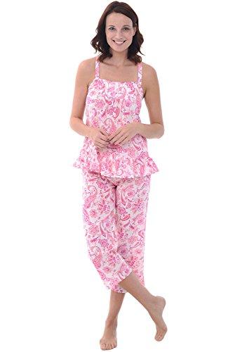 Alexander Del Rossa Womens 100% Cotton Lawn Pajamas, Tank and Capri Pj Set, Medium Pink Paisley (A0584L13MD)
