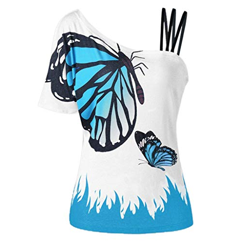 〓COOlCCI〓Women Summer Butterfly_Printing One Shoulder Strappy Cold Shoulder T-Shirt Cold Shoulder Casual Tops Blouse Light Blue