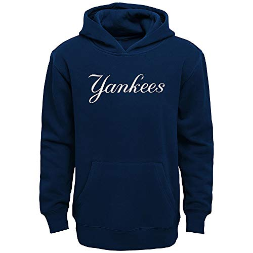 - Outerstuff MLB Team Apparel Boys Youth 8-20 Official Team Wordmark Logo Pullover Hoodie Sweatshirt (New York Yankees, Youth X-Large 18-20)