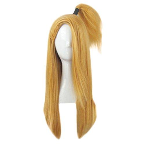 [Mtxc Naruto Cosplay Naruto Deidara Noumenon & Small ponytail Wig Gold] (Naruto Deidara Cosplay Costume)