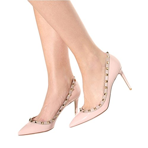 EKS Women's Fllosacf Patch Work Edge With Rivets Studs High Heels Pointed Toe Pumps For Dress Plus Size UK 3-11 Patent-Pink LtkFIcS3a