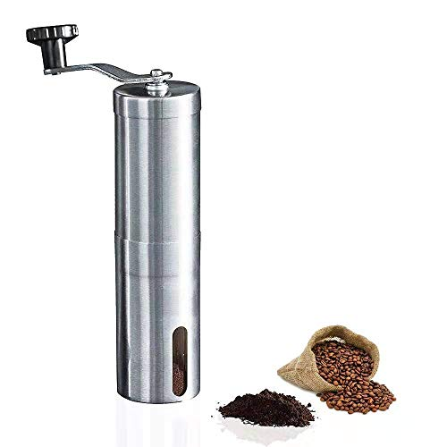 Manual Coffee Grinder, Ckrieane Portable Brushed Stainless Steel Adjustable Settings with Conical Burr Mill for Travel,Quiet Grinding - Suitable for Air Compressor, Drip Filter Coffee, Espresso, French Press, Turkish Brewing