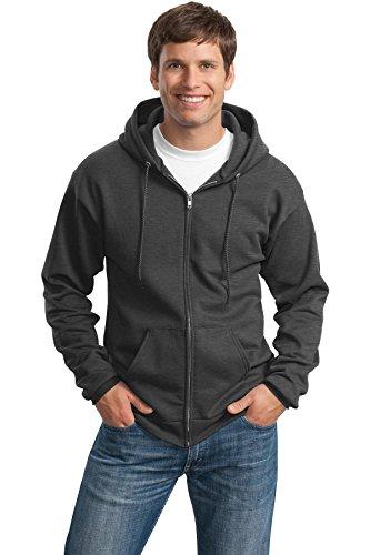 Port & Company Men's Classic Full Zip Hooded Sweatshirt XL Dark Heather - 50 Calibre Zip