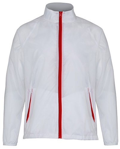 Para Hombre 2786 Impermeable Chaqueta White Red gtYSYEqw