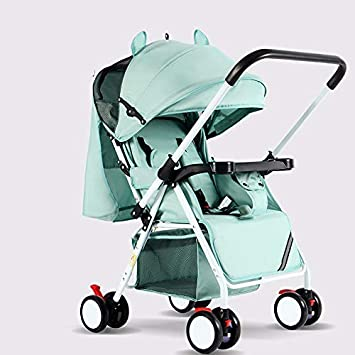 Buggy with Lying Position with Safe Five-Point Harness and Brake Small Foldable Buggy Stroller Toddler Lightweight Pushchair Kids Four Wheel Pushchair with One Hand Fold Adjustable Backrest