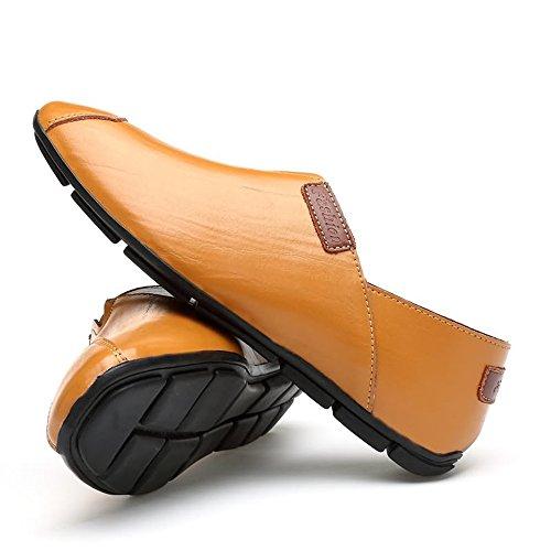 Casuales tamaño la 41 Brown Hombres Light Xiazhi conducción los Ligeros Color Zapatos On de de shoes Moda EU de Blanco cómodos Mocasines Slip Mocasines qwSXa