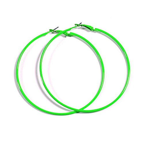 NEON GREEN Hoop Earrings 50mm Circle Size - Bright Flourescent, Vibrant Colors