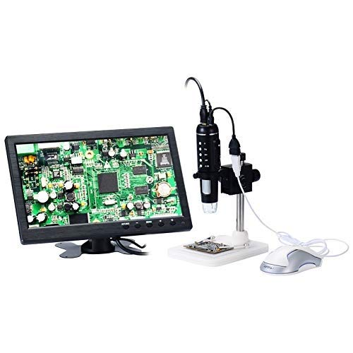 Adjustable HD Microscope, USB 1000x Digital Video Camera, Magnifying Glass, Focus Mouse Operation Mode, Industrial Electronic Measurement (Color : Standard(Plastic Bracket))