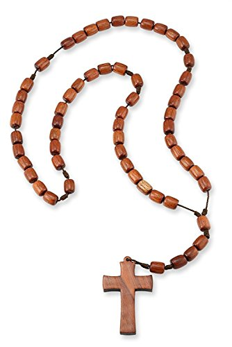 Brown Jatoba Wooden Beads Catholic Rosary Necklace with Cross Crucifix
