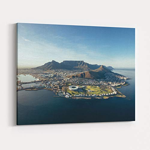 Rosenberry Rooms Canvas Wall Art Prints - Aerial Coastal View of Cape Town View of Cape Town City with Table Mountain, Cape Town Harbour, Lions Head and Devils Peak, South Africa (36 x 24 inches) (View Wall Art Coastal)