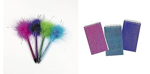 TCS Party Bundles Fun Express 12 Marabou Pens 24 Glitter Spiral Mini Notebooks Bundle 36 Piece Set ()