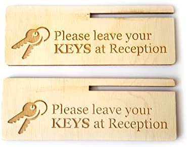Please Leave Key at Reception Small Freestanding Wood Sign